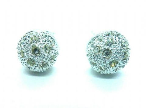 Sterling Silver 925 Disco White Glitter Stud Button Earrings